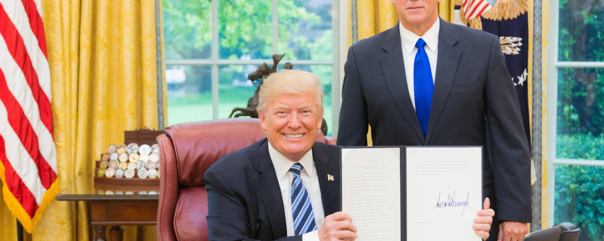 Donald J Trump with Mike Pence. Image: History in HD on Unsplash